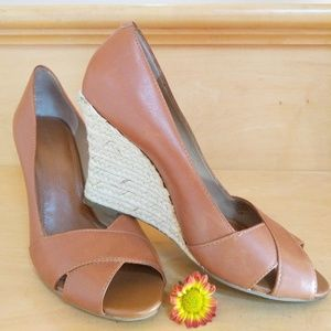 Banana Republic Brown Leather Espadrille Wedges